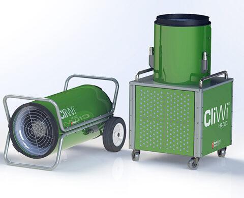 cliwi byggvärmare, byggvarme, building heating