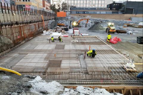 Använder vätskeburen värme säkra betongarbete, Væskebåren varme sikrer betongarbeidet